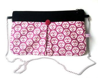 Pochette  sacs de soirée tissu  rose fushia  fleuri Flora