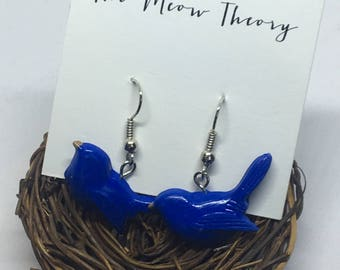 blue jay bird polymer clay hanging earrings