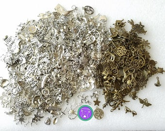 Bulk Earring Charms, fast shipping from USA, silver charms or silver and bronze charm mix, pairs of charms for making earrings pendants BCE