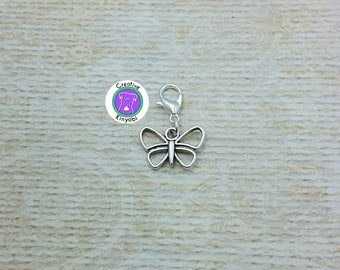 Silver hollow butterfly charm, bracelet charm, zipper pull, purse charm, silver butterfly charm with clasp, Fast Shipping from USA CS337C