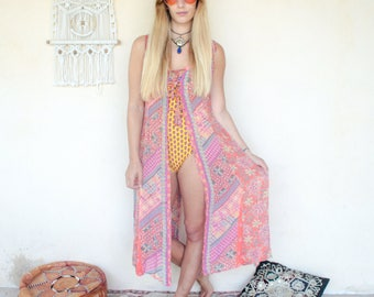 Vintage 90's Bohemian Print Duster Dress