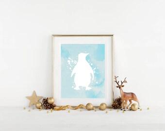 Blue Penguin Printable Wall Art, Winter, Christmas, Watercolor Nursery Decor, Home Decor, Download, Digital Print, Gift