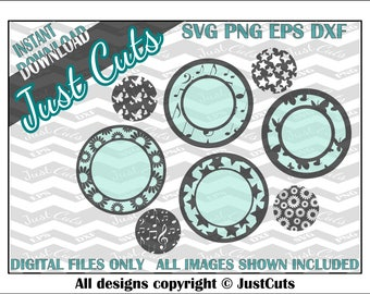 Monogram circle - cutout border circles - Monogram frame - svg frames - svg set - pattern svg - border svg set -  customized svg - monogram