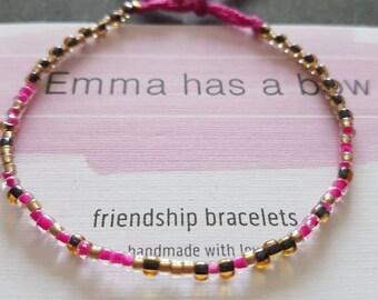 "Morse code ""but first coffee ' Freundschaftsbändchen in pink and gold"
