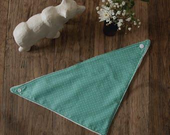 Mint green bandana bib with polka dots for baby