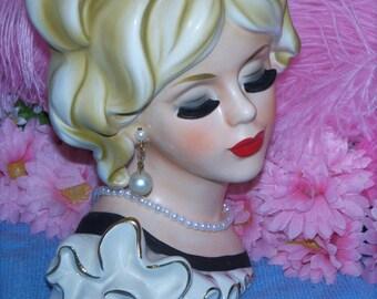 Rare Japan Wreath Large 7 Ruffle Dress Lady Headvase Blonde Lush Lash Head vase Vtg 50's Sweet 2nds Display Perfect!
