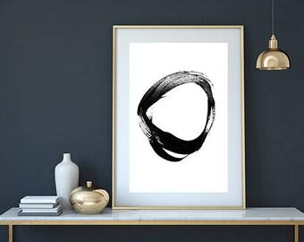 Circle print, abstract art print, minimalist print, circle art, abstract art, abstract wall art, modern art,abstract painting,painted circle