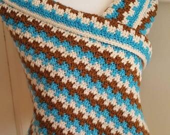 Blue, Brown, Beige Rectangular Crochet Shoulder Wrap, Crochet Prayer Shawl
