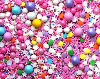 Donut Queen Sprinkles, Pink and Rainbow Sprinkles, Crunchy Sprinkles, fancy sprinkles, Star Sprinkles, Edible Glitter, Crunchy Jimmies