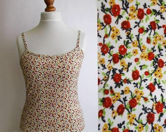 Vintage Floral Top, Floral Tank Top, Floral camisole, Bohemian top, Spagetti strap top, Summer top, 90s tank top, Tank top, Size S/M