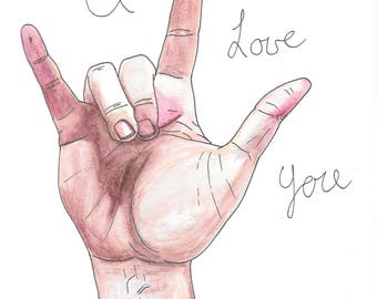 8x10 - High Quality Art Print - I Love You - ASL