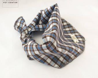 Plaid Dog Bandana no 2 New Style, Pet Scarf, Scarves, Shawls, Pet Accessories, Summer, Neckerchief, Blue, White, Brown