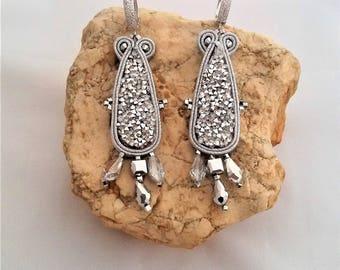 soutache earrings silver, soutache, soutache jewelry, soutache jewels, handmade earrings, soutache embroidery, long earrings