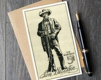 Sam Houston card, texas birthday card, houston christmas card, teacher retirement card, teacher appreciation card, history classroom posters