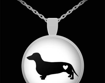 """Adorable Dachshund Silhouette Necklace with Pendant! Ideal gift for an animal lover! Wear this proudly on 22"""" silver plated necklace!"""