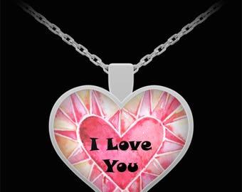 I Love You Heart Shaped Necklace Sweetheart Jewelry Valentine Birthday Anniversary Bridal Wedding Jewelry