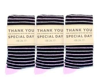 Groomsmen Pink, Black and Grey Striped Socks 3-Pack with Custom Labels/Wedding Day Socks/Groomsmen Gifts/Groomsmen Proposal Idea