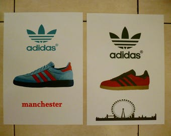 A4 size adidas london and manchester illustrated graphic trainer poster art prints set of 2