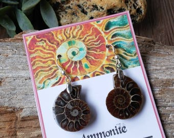 Women's earrings, ammonite, earrings, ammonite jewelry, fossil jewelry, spiral, positive vibes, yoga jewelry, birthday gift, women's gift