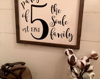 Number Sign, Family Number Sign, House Number Sign, Gallery Wall Sign, Framed Wood Sign, Farmhouse Decor, Farmhouse Style,