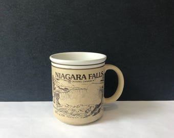 Vintage Niagara Falls Mug - White and Brown Coffee Mug / Canada Souvenir / Waterfall Scenery