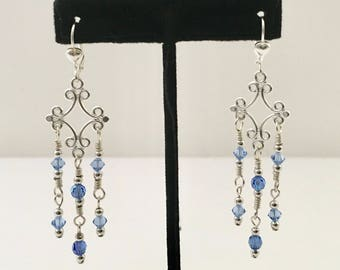 Blue chandelier earrings, blue Swarovski earrings, silver chandelier earrings, hand wired blue Swarovski earrings, silver earrings