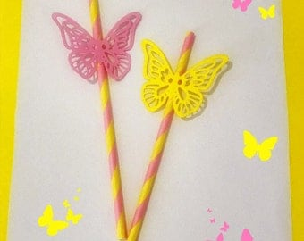 Paper straws with butterflies/Paper straws with butterflies