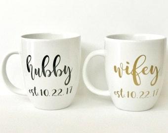 Personalized Hubby and Wifey Mug Set