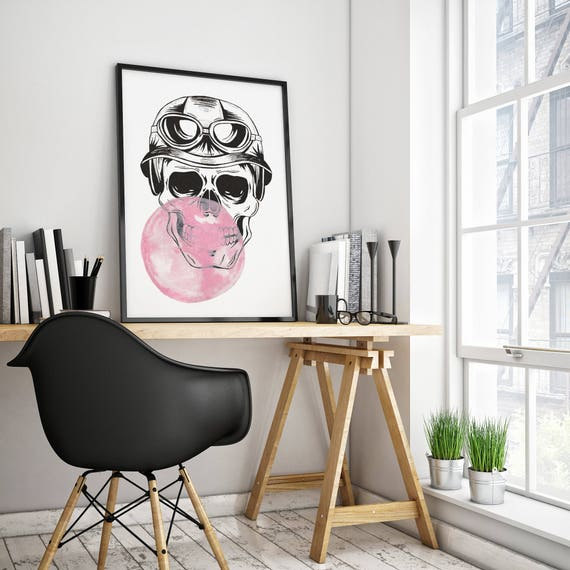 Aviator Sugar Skull with bubble gum balloon | Framed Poster | Wall art decoration | Ink and watercolor painting | ZuskaArt
