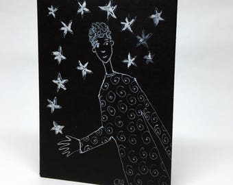 Simple design in white on black paper, decorative, gift, picture - character to the stars