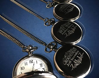 12 Personalized Pocket Watches - 12 Groomsman engraved gifts - Personalize gift engraved watch - Usher & Officiant gift - Wedding gift set