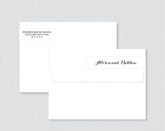 Wedding Address Labels - Black and White Wrap Around Return Address Labels for Wedding - Calligraphy Return Address Stickers 0005