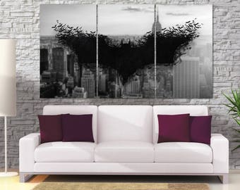 Batman logo Canvas Print, Game and Movie Framed Wall Art, Comic Poster, Gotham City Bat,  Hand Made in Europe for Home and Office_LC091