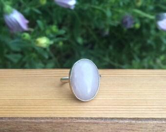 Large Rose Quartz Ring / Sterling Silver Ring Size 8.5 / Oval Rose Quartz Ring / Big Rose Quartz Ring  / Artisan Rose Quartz Jewelry