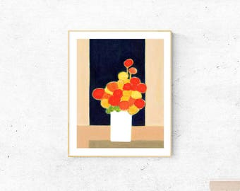 Printable Floral art,still life,abstract office & home décor poster,printable wall art print,square,instant digital download,orange black
