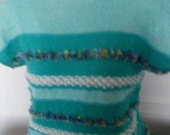 """Shades of green"" short sleeve sweater"