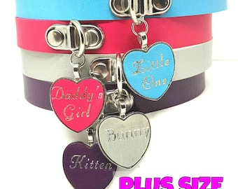 BDSM DDLG Plus Size Heart Bondage Day Collar or Pet Play Choker Faux Vegan Puddin Good Girl Little one Daddy's Girl Brat Baby Girl Sissy Etc