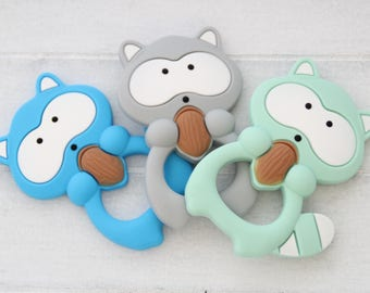 Silicone teething raccoon / Food grade silicone / Safe for baby
