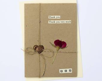 Thank You Very Much Handmade Wax Seal Dried Flower Greetings Card