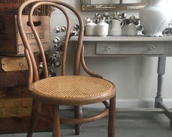 Bentwood Cane Chair With Diagonal Weave ~ Round Ice Cream Chair ~ Cafe Chair  ~ Bistro