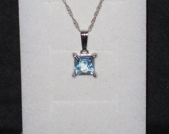Blue topaz Gemstone Solid Sterling Silver Necklace