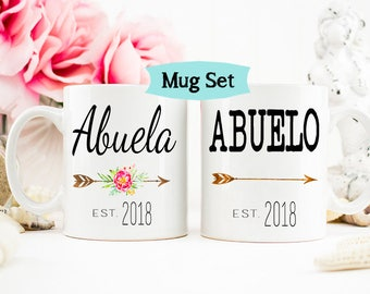 Abuela and Abuelo mug set, New Baby Pregnancy Announcement, Abuelo Mug, New Grandpa Mug, Spanish Mug Set for New Grandparents