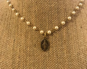 Gold Miraculous Medal Choker Necklace