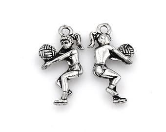 2pc, Volleyball Player Charm, Pewter