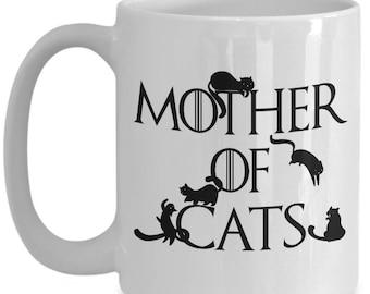 Game of Thrones Cat Mother of Cats Mug Daenerys Targaryen Khaleesi Spoof Crazy Cat Lady Cat Mom Cute Cat Mug Cat Themed Gifts Coffee Cups