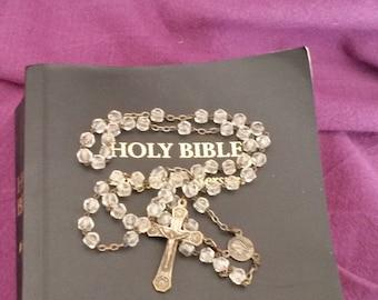 Old Glass Beaded Rosary, 5 Decade Rosary, Jesus, Early 20th Century Rosary,  Catholic Prayer Beads, Religious Jewellery