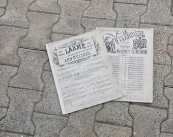 Set of 2 Music Books, Antique Music Sheets, French Partitions, Large Sheet Music, La Vivandiere, Opera, Paris Editions,