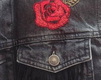 Roses and Fringing Black Denim Jacket