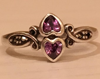 Two Heart Amethyst Sterling Silver Ring with Marcasite Stones - size 9.5