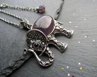 Amethyst Elephant Necklace with Crystal Beads, Silver plated, Elephant necklace, Amethyst Elephant, Elephant Pendant, Elephant Jewelry